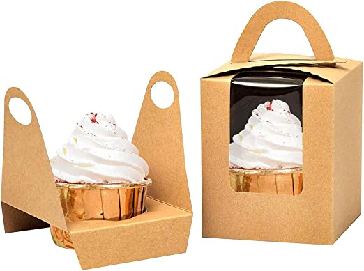Amazon Com Kraft Cupcake Boxes 50pcs Single Cupcake Carrier With Window Insert And Handle Kraft Pastry Containers Muffins Cupcake Carriers For Bakery Wrapping Party Favor Packing Kitchen Dining