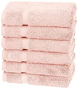 Pinzon Organic Cotton Hand Towels, Set of 6, Pale Peach