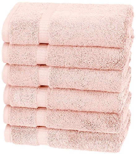 Pinzon Organic Cotton Hand Towels, Set of 6, Pale Peach (Bath Towels Pink)