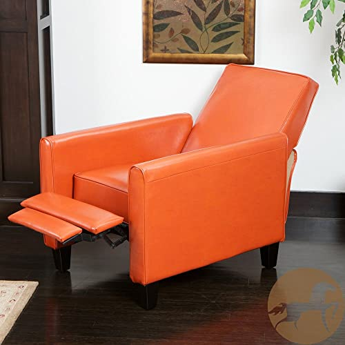 Christopher Knight Home Darvis Tan/Black/Orange Leather Recliner Club Chair Orange