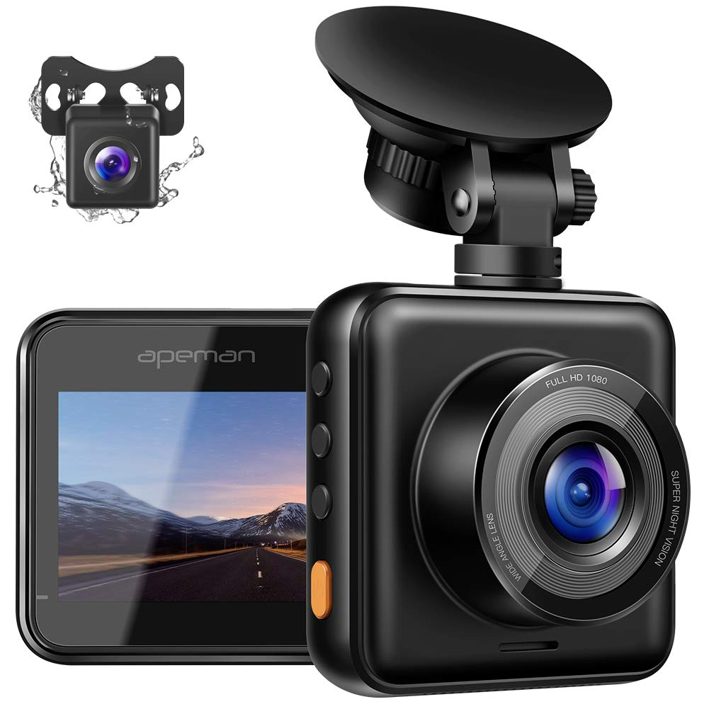 APEMAN Dual Dash Cam for Cars Front and Rear with Night Vision 1080P FHD Mini in Car Camera 170° Wide Angle Driving Recorder with G-Sensor, Parking Monitor, Loop Recording, WDR by APEMAN