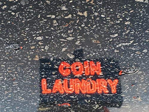 Coin Laundry 16 x 20 Photography Print Reflection Neon Sign Laundromat Vintage Coin Laundry Room Art