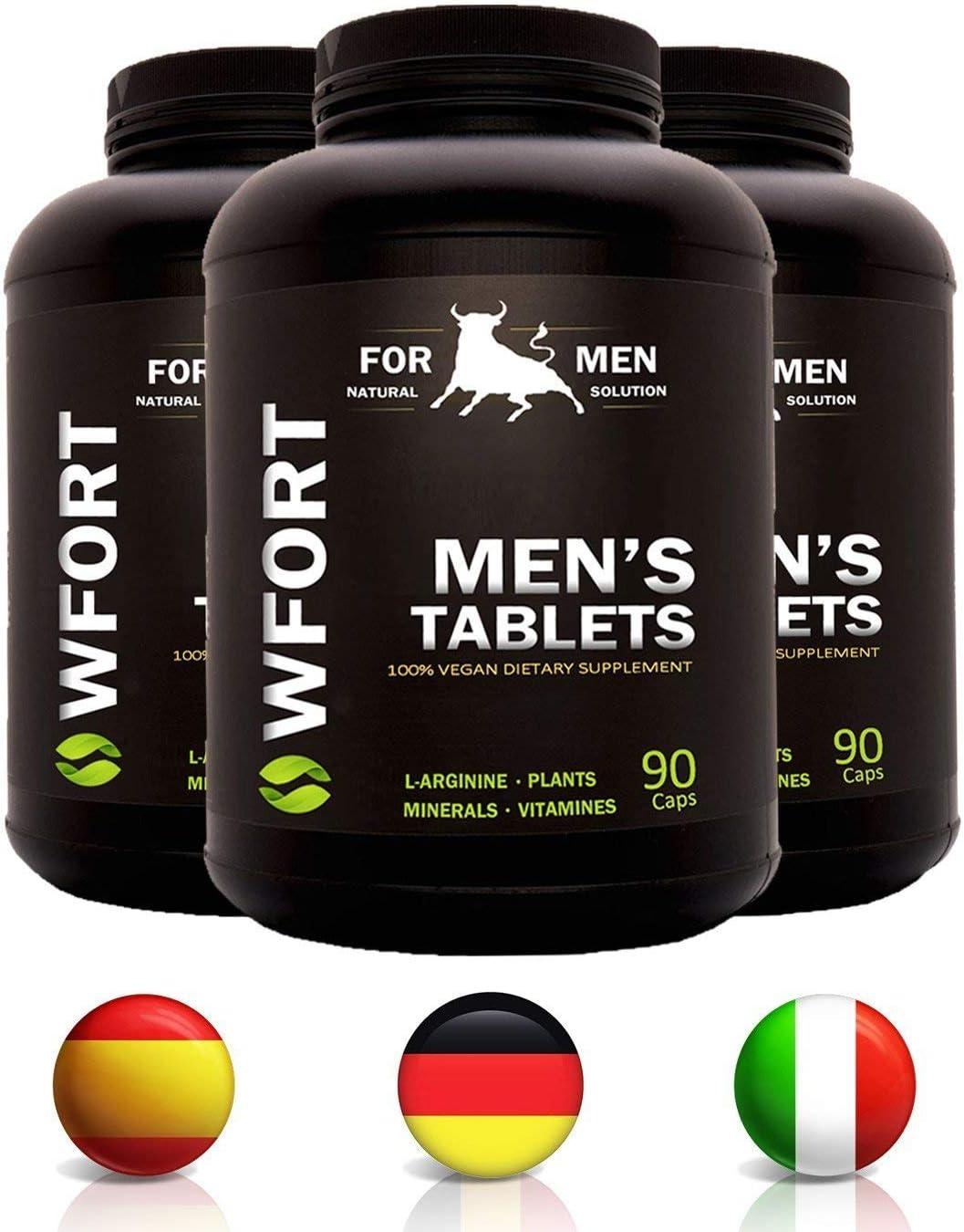 WFORT 90 PASTILLAS Hombre | Vasodilatador Estimulante Potente | Efecto Prolongado | Con L-Arginina, Maca, Ginseng, Tribulus, Guaranà, Goji, Zinco y Vitamina B
