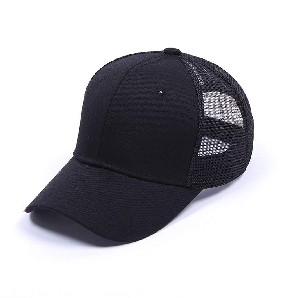 Respctful✿Women Baseball Cap Sun Hat Adjustable Mesh Cotton Mesh Casual Sports Caps for Golf Cycling Running Fishing Hats Black