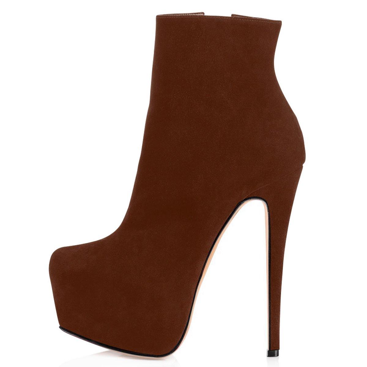 ELASHE Ankle Boots   15cmTrendige Damen Stiefeletten   Plateau Stiefel mit Absatz35 EU Braun