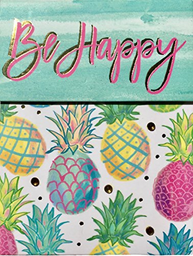 Molly & Rex Gold Foil Gem Embellished Mini Pocket Notepad ~ Be Happy Pineapple 61543