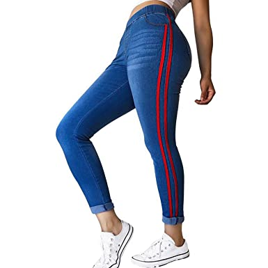 5ba145a1e2 2019 Women High Waist Jeans Fashion Side Stripe Denim Skinny Pants Slim Fit Leggings  Female Stretch Trouser Plus Size at Amazon Women s Clothing store