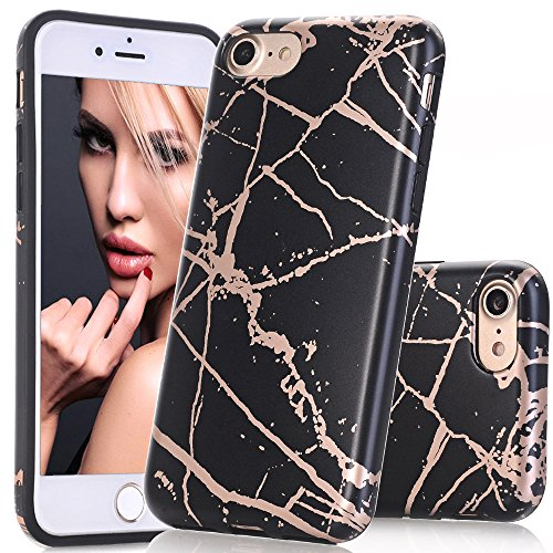 (BAISRKE Shiny Rose Gold Black Marble Design Black Bumper Matte TPU Soft Rubber Silicone Cover Phone Case Compatible with iPhone 7 (2016) / iPhone 8 (2017) [4.7 inch])
