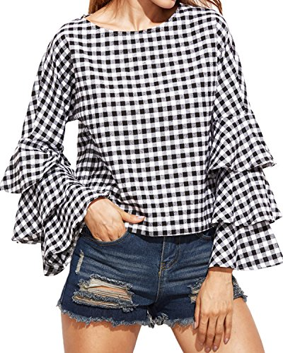 Plaid Ruffled Blouse (StyleDome Women's Elegant Flared Bell Ruffled Flounce Long Sleeve Blouses Casual Shirts Round Neck Tee Tops Black 2 US 14)