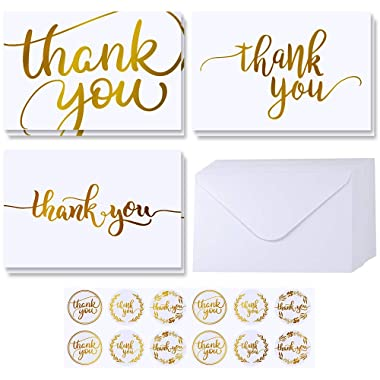 Supla 102 Sets Gold Foil Thank You Cards Bulk with Envelopes Stickers Thank You Notes 3 Designs Blank Thank You Note Cards Greeting Cards 4  x 6  for Weddings Baby Shower Bridal Shower