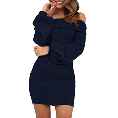 a3880b2b1464d ✿✿ Amlaiworld Elegant Bootshals Pullover Kleider Outdoor Stilvoll Frühling  Herbst dressTrägerlos Gemütlich Minikleid: Amazon.de: Bekleidung