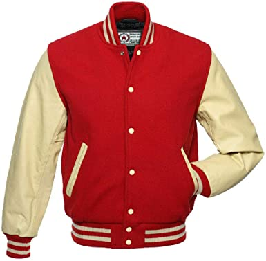 Red Pure Cowhide Leather// Wool Retro Varsity Letterman Bomber Jacket* Red Sleeve