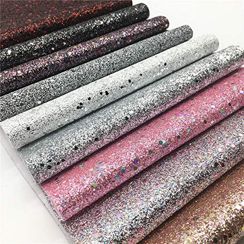ZAIONE 9pcs 8 x 12 (20cm x 30cm) Sheets Multi Color Stars Fine Glitter Fabric Sparkle Faux Leather Bow Craft Material Making Bag Bows Sewing Patchwork DIY Craft (9 Colors)