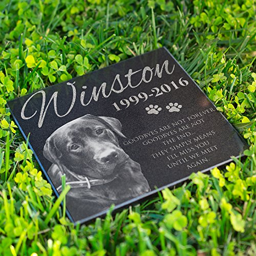 (Lara Laser Works Personalized Dog Memorial with Photo Free Engraving MDL1 Customized Grave Marker | 12x12)