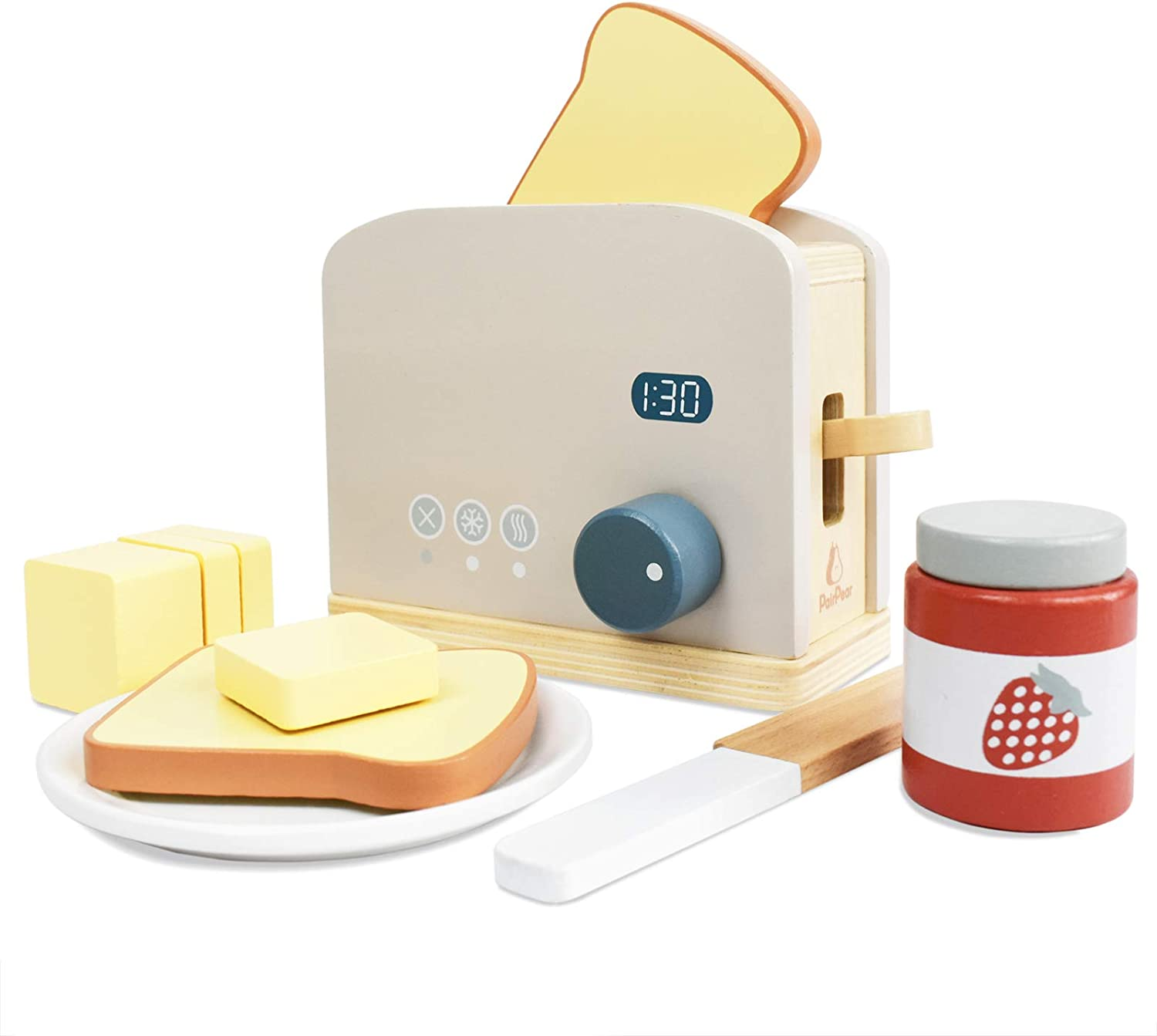 PairPear Pop-up Toaster Playset Wooden Pretend Role-Play Kitchen Toy 10 Pieces
