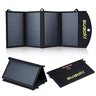 Suaoki - 25W Cargador Panel Solar Placa Solar Plegable (Doble Puertos USB para Moviles, Tablets y Otros Dispositivos Digitales)