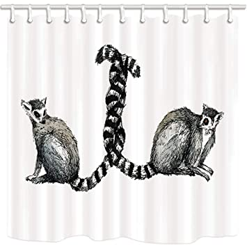 SZZWY Animal Shower Curtain Funny Wild Lemur Catta Tail Surround Farmhouse Bathroom Mildew Resistant Polyester Fabric