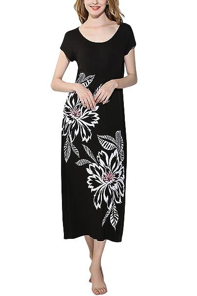 Dolamen Camisón para mujer Largo, Mujer Camisones Modal Algodón Pijamas Tejido con estampado floral Nightdress