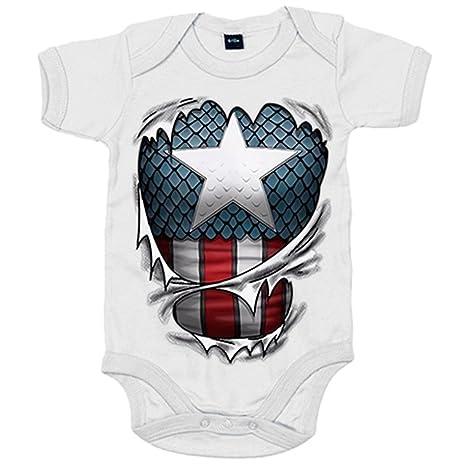 Body bebé Capitán América cuerpo - Blanco, 6-12 meses