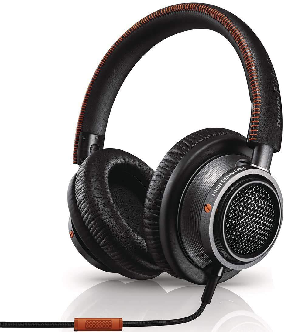 Philips Fidelio L2 Over-ear Premium Portable Headphones with In-line Mic, Noise Isolation, Hi-Res - Black/Orange (L2BO)