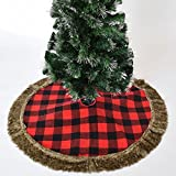 Gireshome 50'' Buffalo Check Plaid Christmas Tree Skirt with faux fur Border XMAS Tree Decoration Merry Christmas Supplies Christmas Decoration