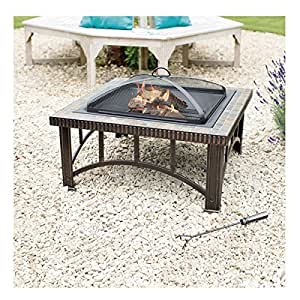 "30"" Steel Square Fire Pit with Slate Top"