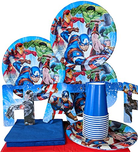 Marvel Avengers Superhero Birthday Plates Napkins Cups Party Supplies Serves 8 by HL Enterprise