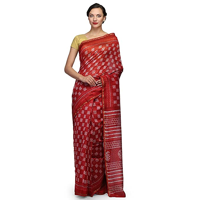 a9de39b66a328 The Weave Traveller Handloom Hand Block Printed Chanderi Silk Cotton Women  Saree With Blouse (Red