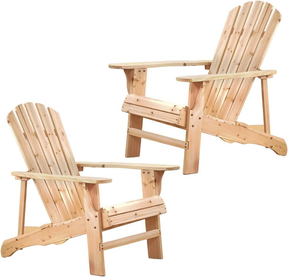 Thompson & Morgan Garden Patio Wooden Adirondack Chairs Set of 2