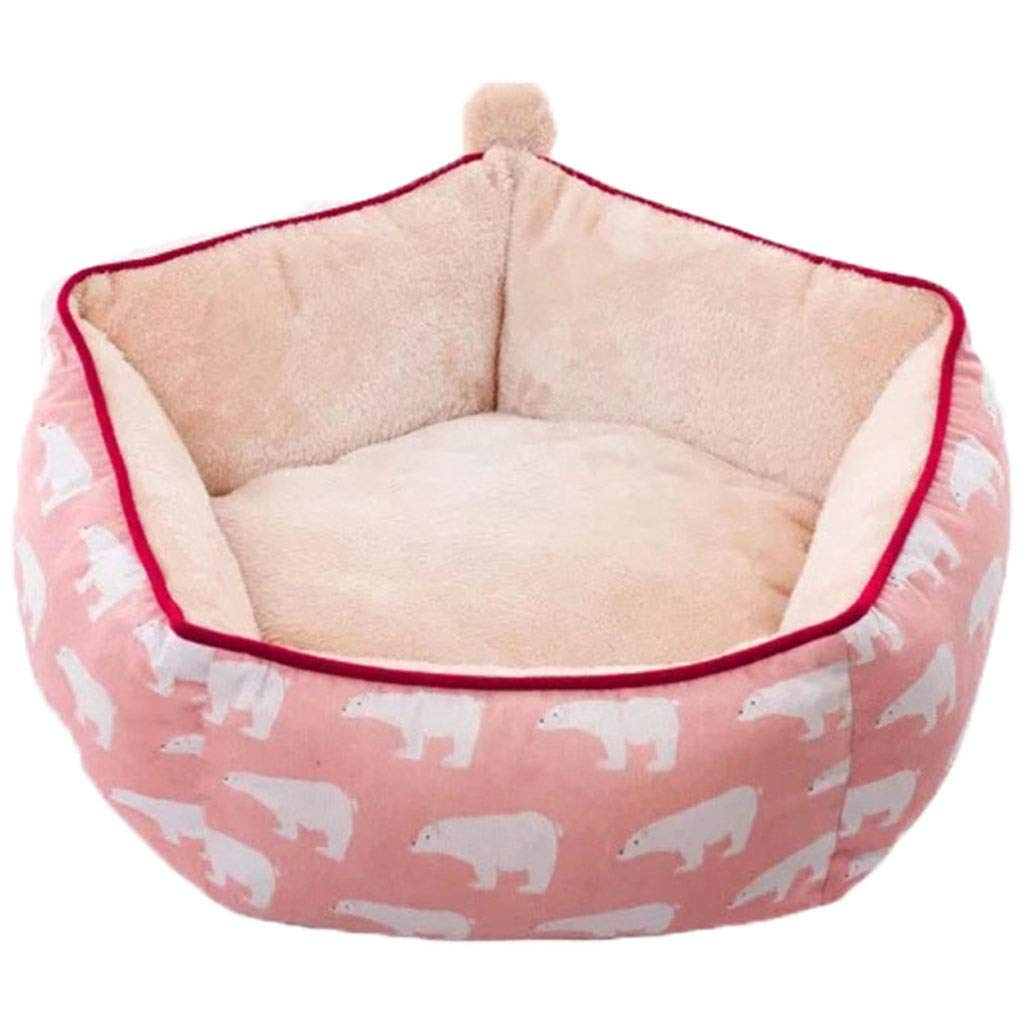 A Medium A Medium Soft Dog Bed, Plush Pet Sleepping Bed Sofa Kennel Nest Warmer Cushion Removable Pet House for Small Medium Dogs and Cats,A,M