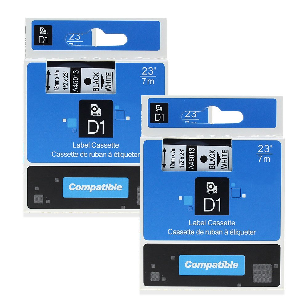 2 Pack Equivalent DYMO Label Tape D1 45013 S0720530 Compatible with LabelManager 160 280 210D Label Makers Black on White 1/2 Inch x 23 Feet