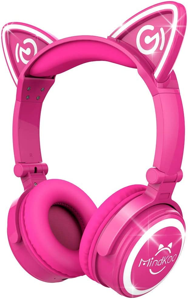 Amazon Com Mindkoo Bluetooth Headphones Over Ear Wireless Headphones Cat Ear Headphones With Led Light Foldable Built In Microphone And Volume Control For Pc Cell Phones Kids Teenager Boys Girls Adults Hot Pink Electronics