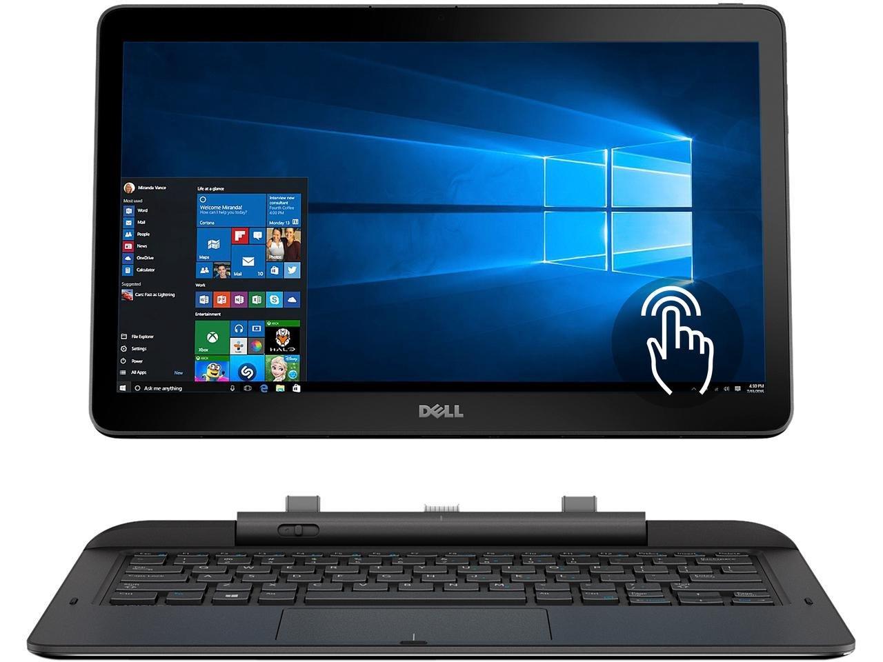 2 in 1 Dell Latitude 7000 13.3'' FHD Touchscreen Flagship High Performance Business Laptop PC, Intel core M, 4GB RAM, 128GB SSD, WIFI, Bluetooth, Backlit Keyboard, Windows 10 Pro (Black)