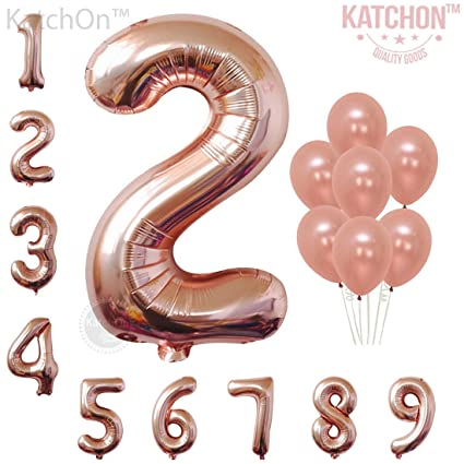 KatchOn Rose Gold Number 2 Balloon Large Pack Of 9