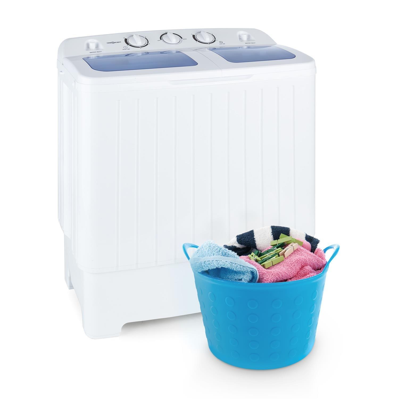 oneConcept Ecowash XL Waschmaschine Mini-Waschmaschine mit Wäscheschleuder 4, 2 kg Waschkapazität 300 Watt Waschleistung 3 kg Schleuderkapazität 110 Watt Schleuderleistung 2 Programme geräuscharm wasser- und energiesparend weiß 4260435914419