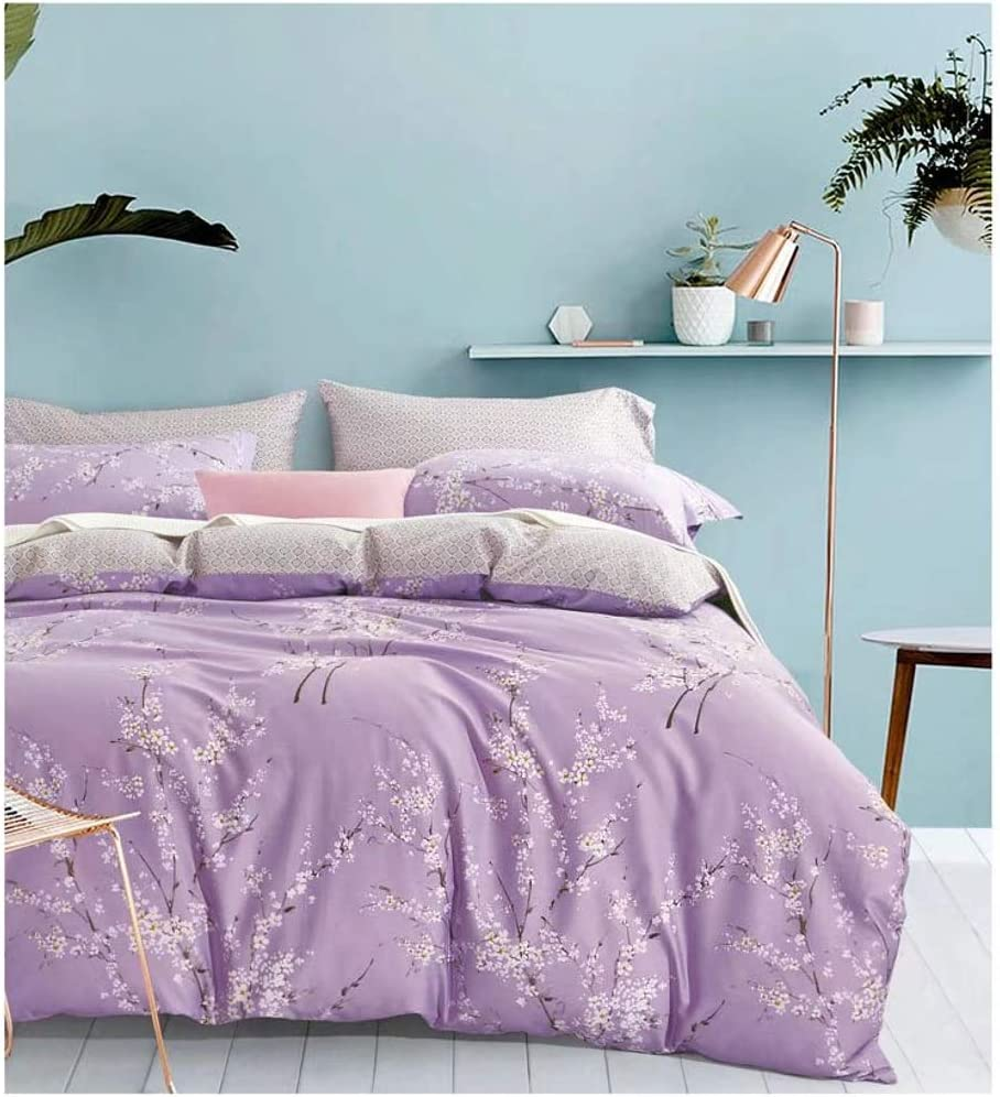 Japanese Oriental Style Cherry Blossom Floral Print Duvet Quilt Cover 3 Piece Cotton Bedding Set Full Queen or King Teal Blue and White (King, Lilac)
