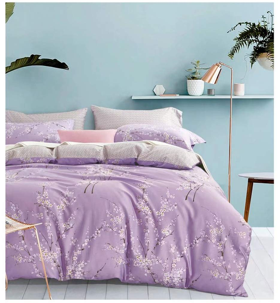 Duvet Cover Set Japanese Oriental Style Cherry Blossom Floral Print Duvet Quilt Cover 3 Piece Cotton Bedding Set Full Queen or King Teal Blue and White Queen, Light Pink