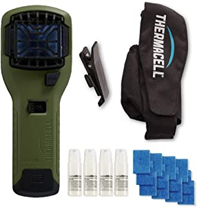 Thermacell Camper's Kit : Mosquito Repellent Appliance (Olive) & Holster with 4 Cartridges, 12 Mats