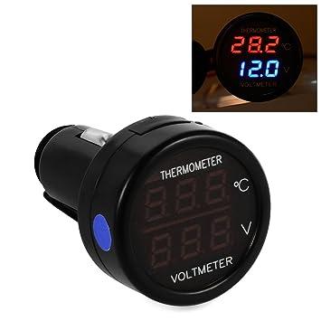 ... encendedor de cigarrillos digital doble pantalla voltímetro monitor termómetro con fusible para auto coche camión azul MA394: Amazon.es: Coche y moto