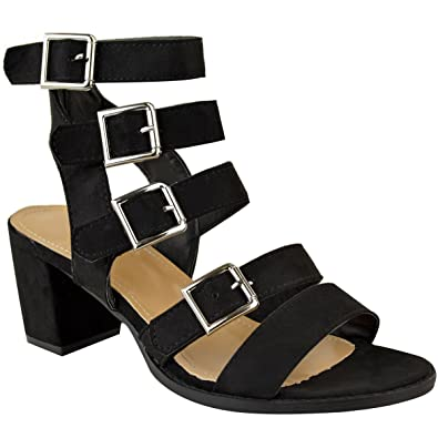 1f49833fb5de Fashion Thirsty Heelberry® Womens Ladies Low Block Heel Strappy Summer  Sandals Open Toe Shoes Ankle New  Amazon.co.uk  Shoes   Bags
