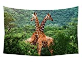 giraffes africa wild animal - Wall Tapestry Art For Home Decor Wall Hanging Tapestry 60x40 Inches