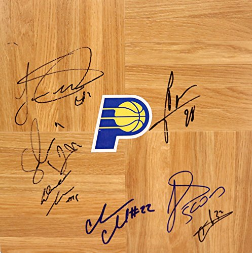(Indiana Pacers 2013-14 Team Signed Autographed Basketball Floorboard)