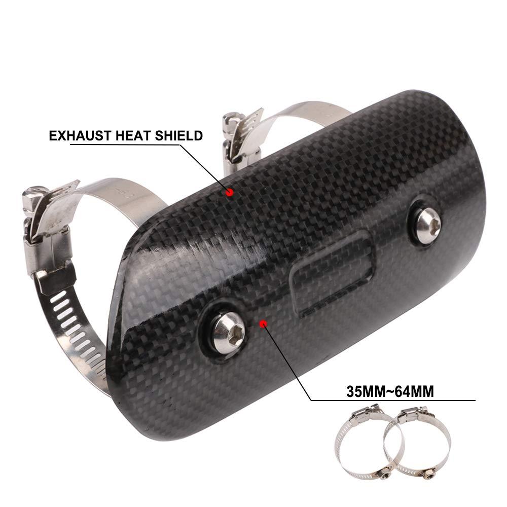 AnXin Exhaust Pipe Heat Shield Carbon Fiber Motorcycle Muffler Cover Guard Protector For Yamaha Harley Suzuki Honda Kawasaki Street Bike Size:146x63MM