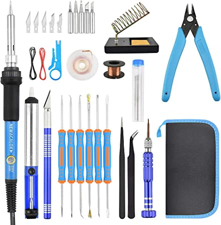 6Pcs Adjustable Electric Temperature Gun Welding Soldering Iron Tool Kit FM