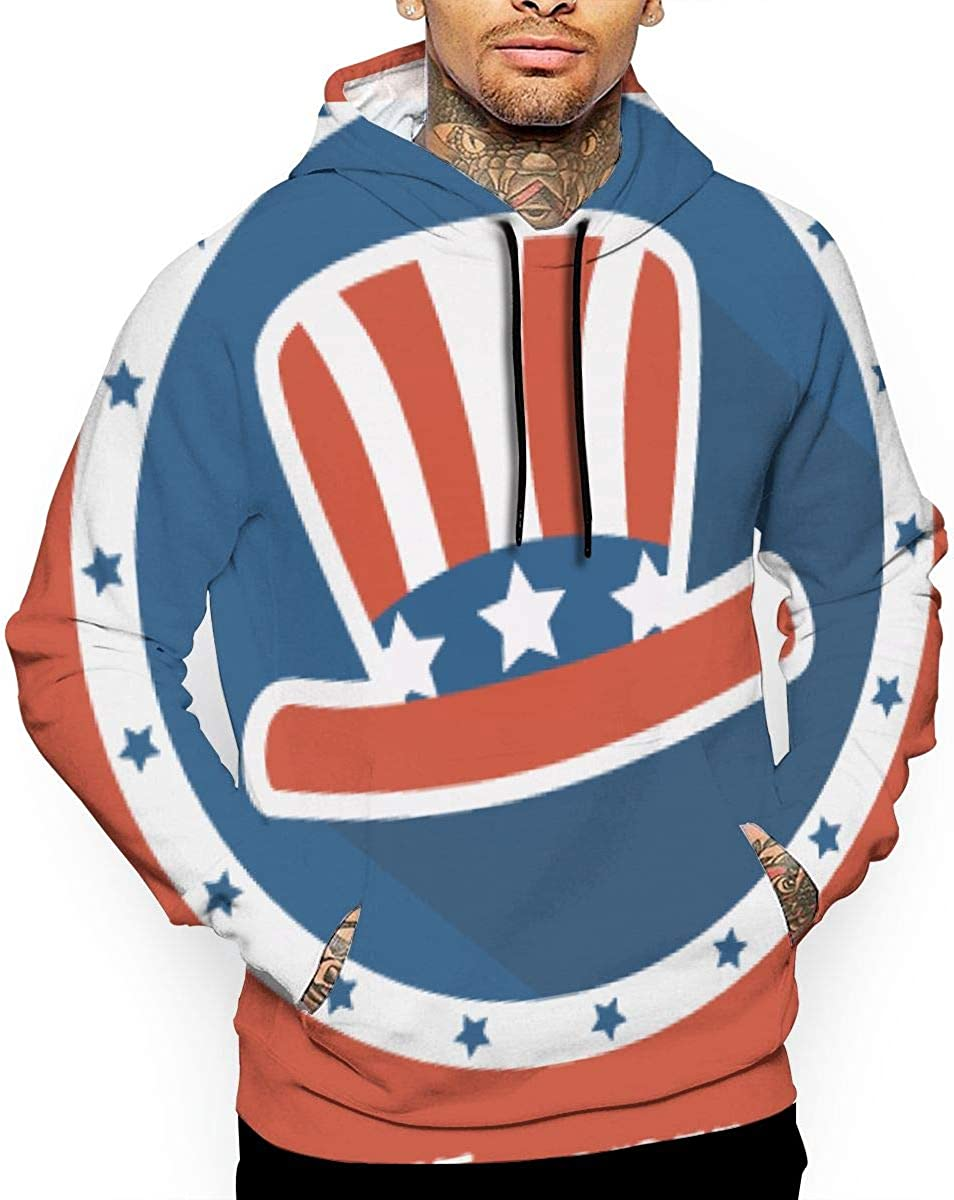 SeeCrab Mens Happy-Presidents-Day Loose Pocket Long Sleeve Hooded Sweatshirt Pullover