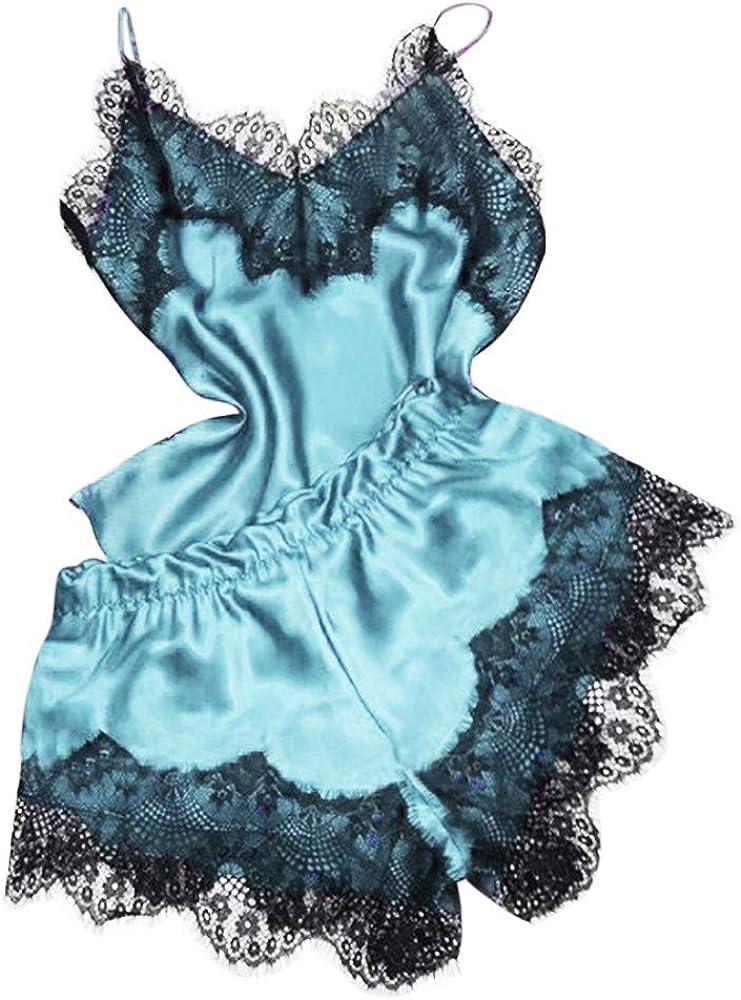 LANSKRLSP Camicie da Notte per Donna Camicie da Notte Camicie da Notte Camicetta da Notte in Raso Camicia Lingerie con Pizzo