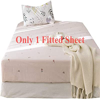 .com - AMWAN Floral Flower Fitted Sheet Queen Deep Pocket Cotton Bedding Sheet Pink Kids Girls Bed Mattress Cover Lightweight Soft Fitted Sheet Wrinkle Free Hypoallergenic Bed Sheet (NO Pillowcases) -