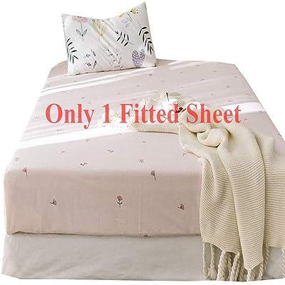 .com - AMWAN Floral Flower Fitted Sheet Queen Deep Pocket Cotton Bedding Sheet Pink Kids Girls Bed Mattress Cover Lightweight Soft Fitted Sheet Wrinkle Free Hypoallergenic Bed Sheet (NO Pillowcases) -