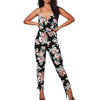 c95f7d57c72 JERFER Combinaison Femme Partie de Jupe-Culotte imprimée à Bretelles à la  Mode Combi-Pantalon Jumpsuit Rompers  Amazon.fr  Vêtements et accessoires
