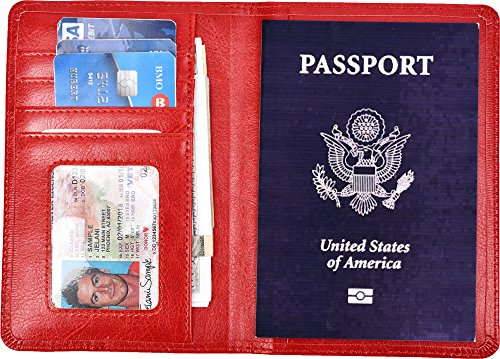 Yuhan Pretty Leather Passport Holder Wallet Cover Case RFID Blocking Travel Wallet (Red)
